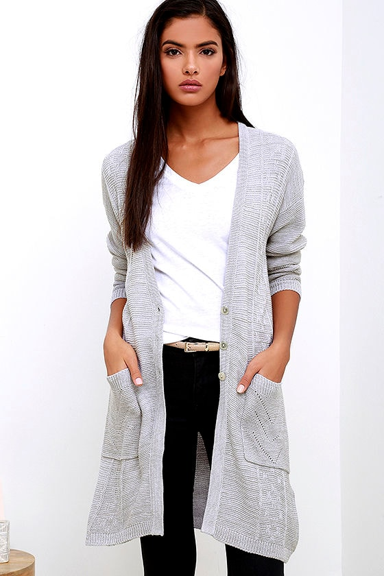 Obey Duster Cardigan - Grey Cardigan - Knit Cardigan - $81.00