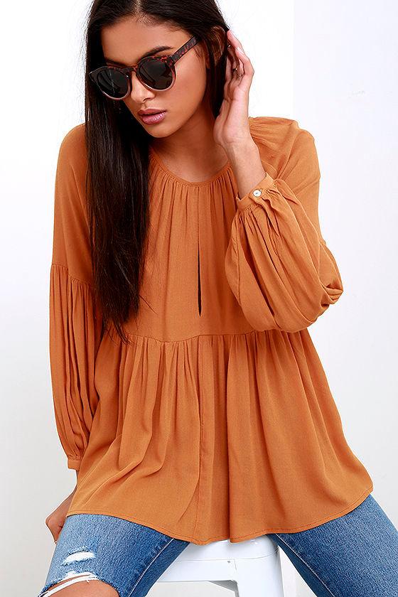 35eaa15f3befb Burnt Orange Top - Long Sleeve Top - Babydoll Top - Tan Top -  37.00