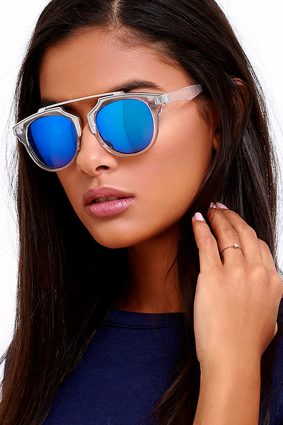 900fbfc68aa2 Chic Clear and Blue Sunglasses - Mirrored Sunglasses - Retro-Inspired  Sunglasses -  14.00