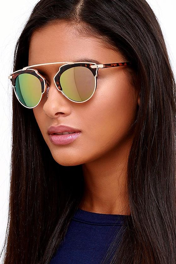 aaeaaea4b4 Chic Tortoise and Pink Sunglasses - Retro-Inspired Sunglasses - Mirrored  Sunglasses -  15.00
