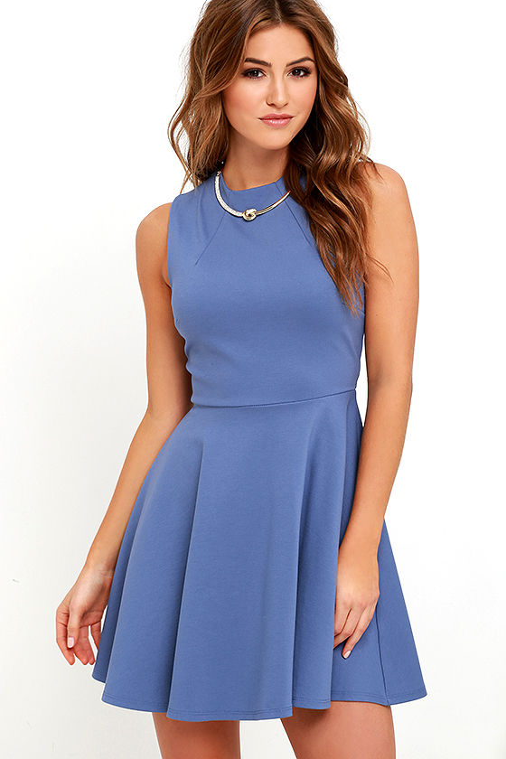 Cute Slate Blue Dress - Skater Dress - Funnel Neck Dress - $49.00