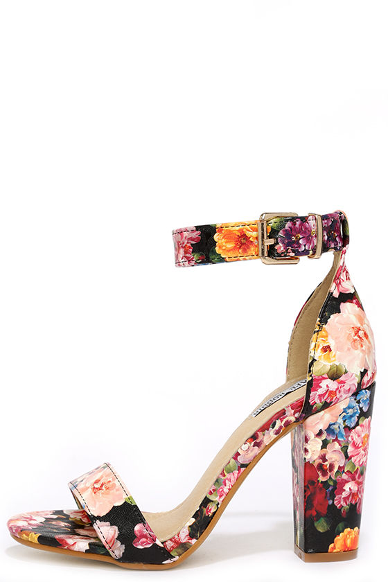 Cute Floral Heels - Ankle Strap Heels - Dress Sandals - $35.00