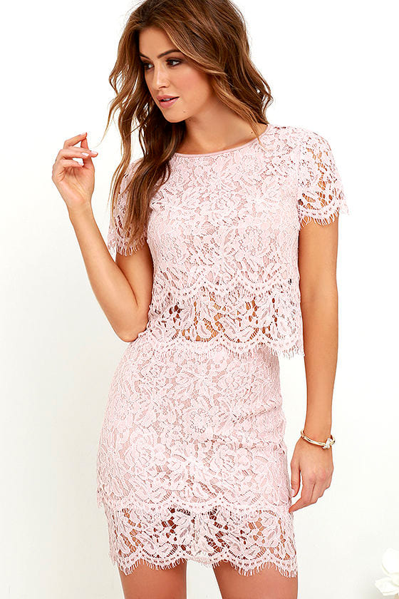 Sexy Blush Pink Two-Piece Dress - Lace Two-Piece Dress - $62.00