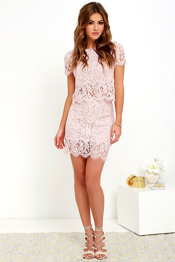 Sexy blush pink two piece dress lace two piece dress for Wedding guest dress blush pink