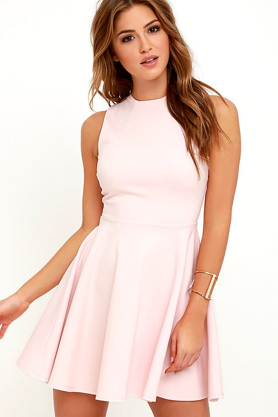 Cute Light Pink Dress - Skater Dress - Funnel Neck Dress - $49.00