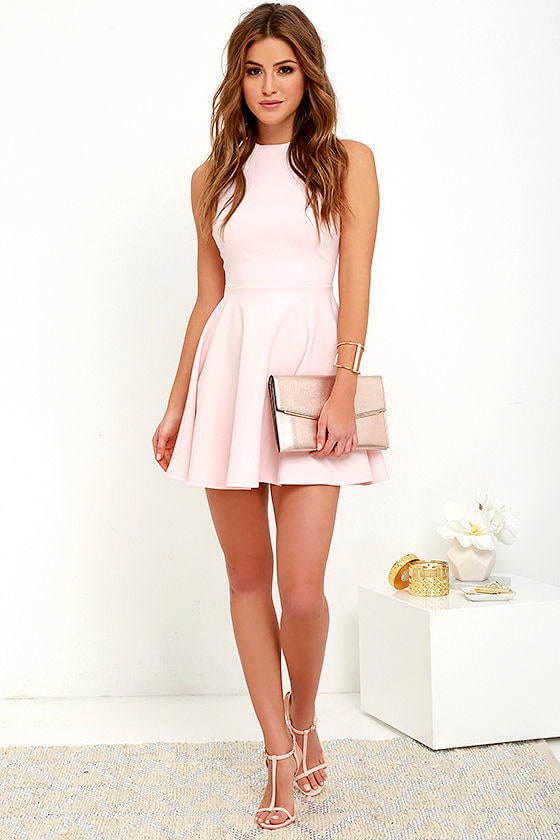 cute light pink dress   skater dress   funnel neck dress