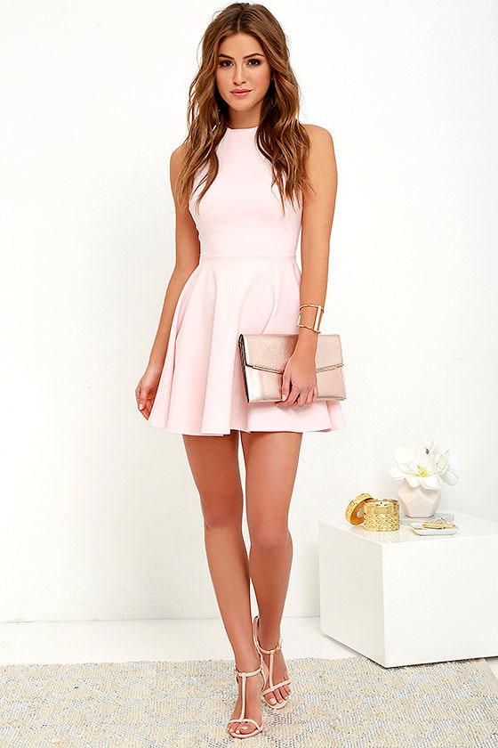 Cute Light Pink Dress Skater Dress Funnel Neck Dress