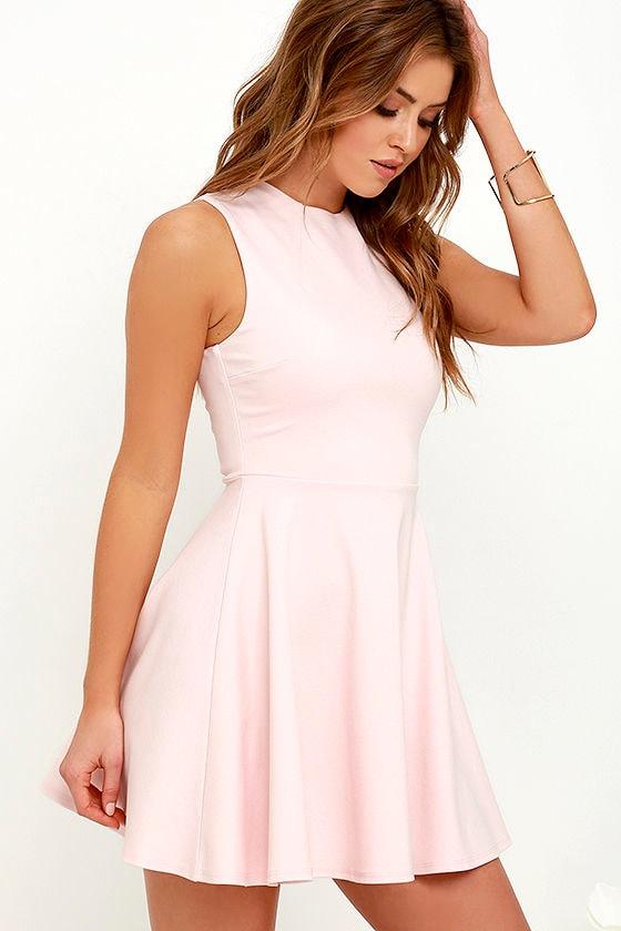 Cute Light Pink Dress - Skater Dress - Funnel Neck Dress - $49.00