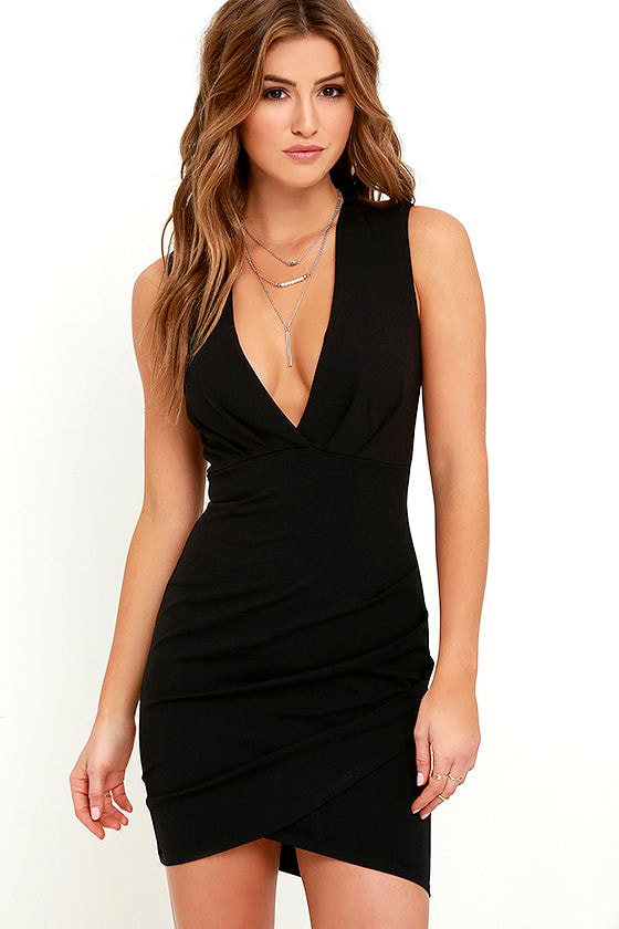 Black Dress - Wrap Dress - Sleeveless Dress - LBD - $48.00
