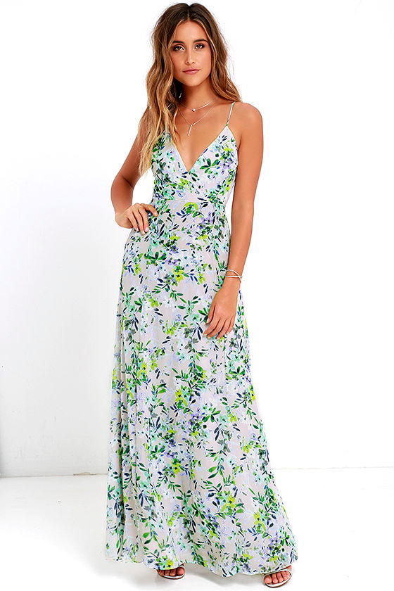 Blue Floral Print Dress - Maxi Dress - Sleeveless Dress - $84.00