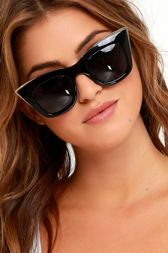 70f57a7235 Chic Black Frames - Cat Eye Sunglasses - Black and Gold Sunglasses ...