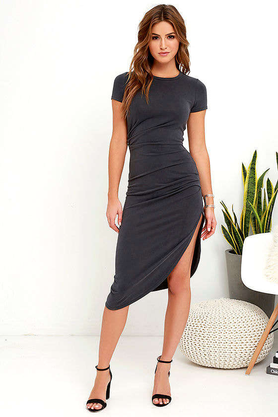 Charcoal Grey Dress Midi Dress Wrap Dress