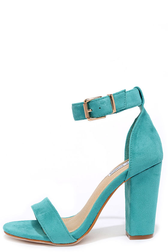 Cute Turquoise Heels - Ankle Strap Heels - Dress Sandals - $35.00