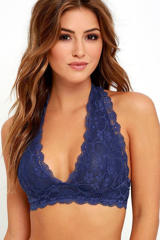 24f64b73c6 Sexy Navy Blue Bralette - Lace Bralette - Halter Bralette -  27.00