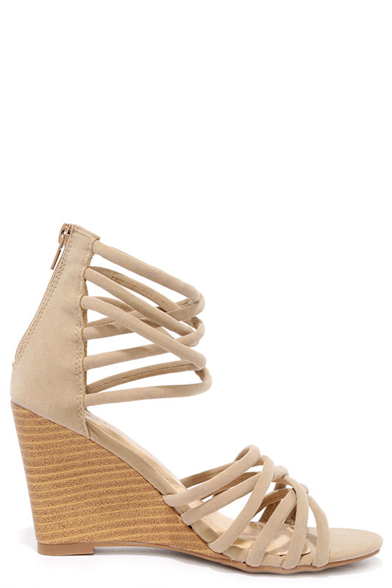 Pure Instinct Nude Suede Caged Wedges 4