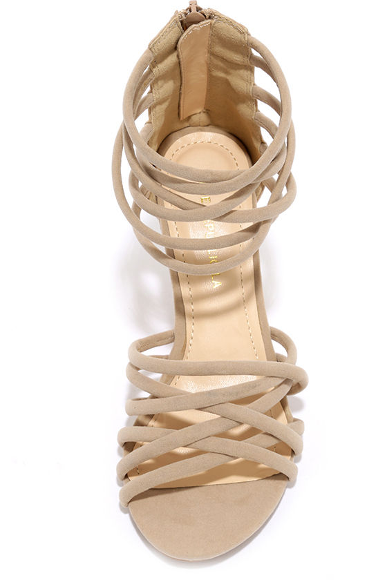Pure Instinct Nude Suede Caged Wedges 5