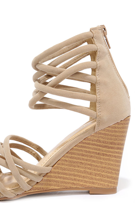 Pure Instinct Nude Suede Caged Wedges 7