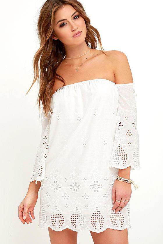 810191d2e5 Lovely Ivory Dress - White Dress - Off-the-Shoulder Dress -  76.00