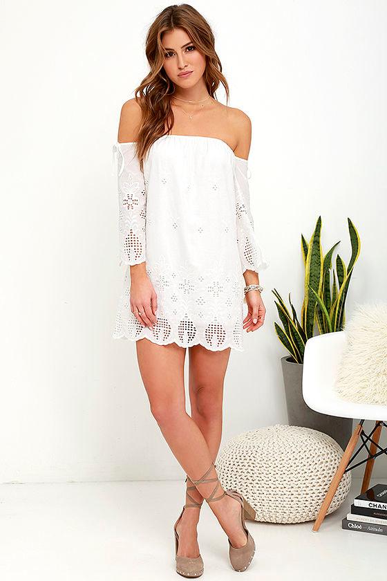 Lovely Ivory Dress - White Dress - Off-the-Shoulder Dress - $76.00