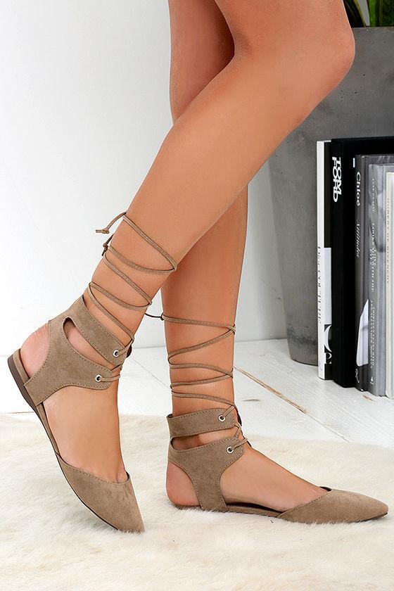 beige lace up flats