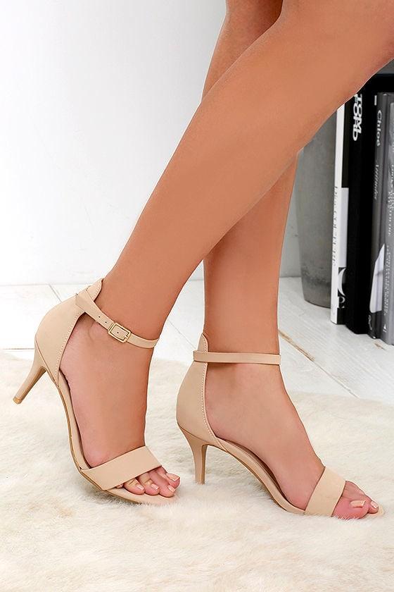 Nubuck Heels - Nude Heels - Ankle Strap Heels - $27.00