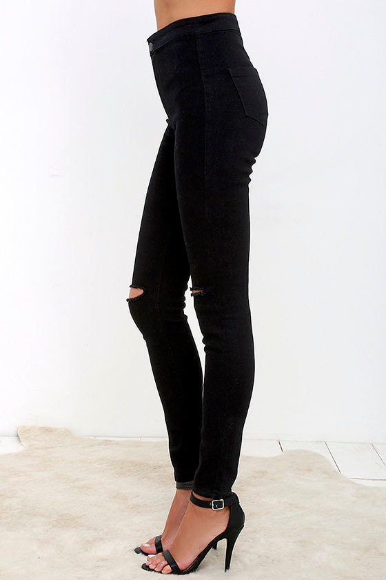 Images of Black High Waisted Skinny Jeans - Reikian
