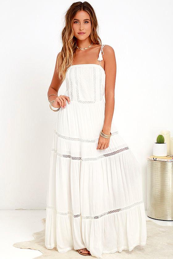 e5f68724a99 Embroidered Maxi Dress - Ivory Dress - White Dress -  66.00