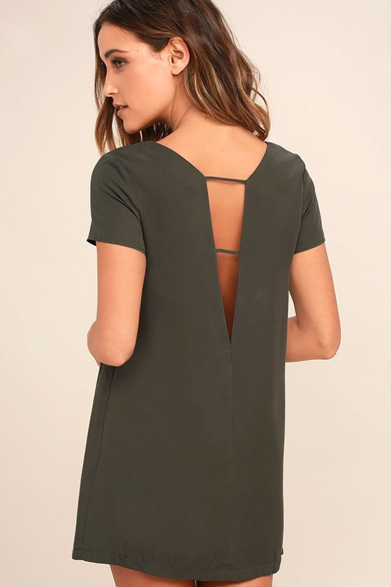 3c2f79fe6269 Chic Washed Olive Green Dress - Shift Dress - Short Sleeve Dress - $49.00