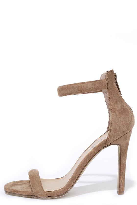 Pretty Beige Heels - Brown Heels - Ankle Strap Heels - $26.00