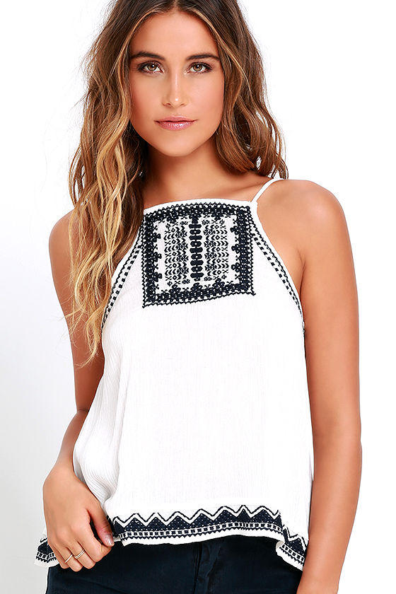 3c52037dabe03 Boho Ivory Top - Embroidered Top - Sleeveless Top -  36.00