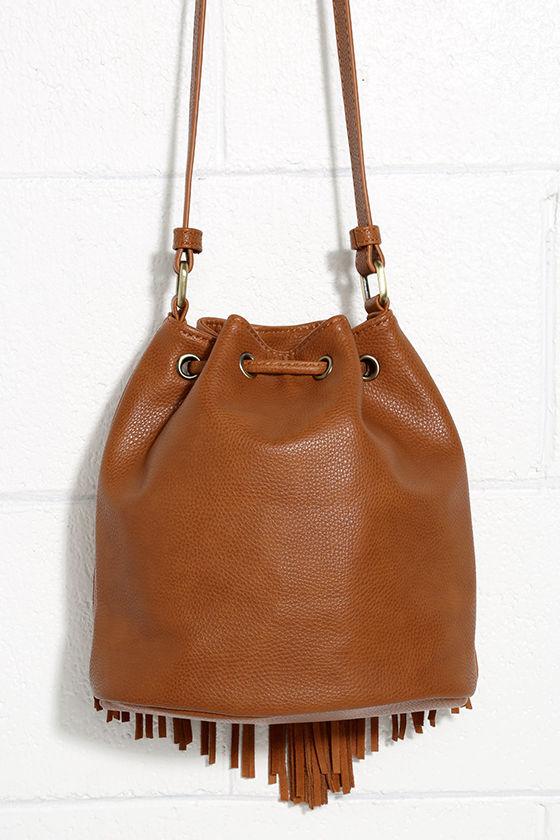 Cute Tan Bucket Bag - Fringe Bag - Suede Bag - $49.00