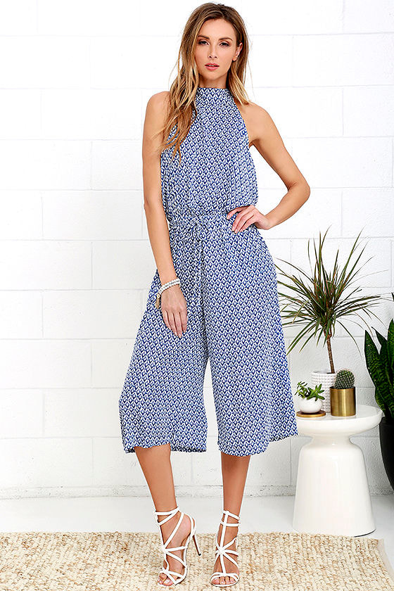 Breezy Going Blue and Ivory Print Midi Jumpsuit at Lulus.com!