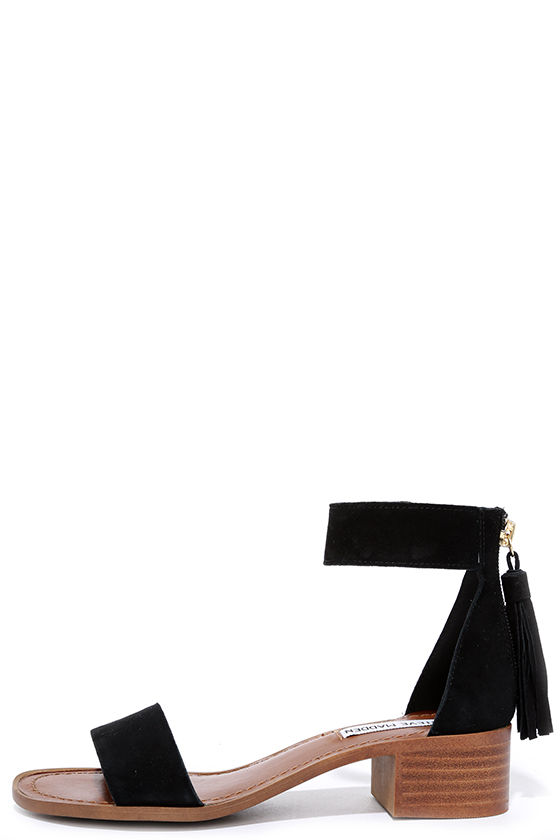 82b23971c Cute Black Sandals - Suede Sandals - Heeled Sandals - $79.00