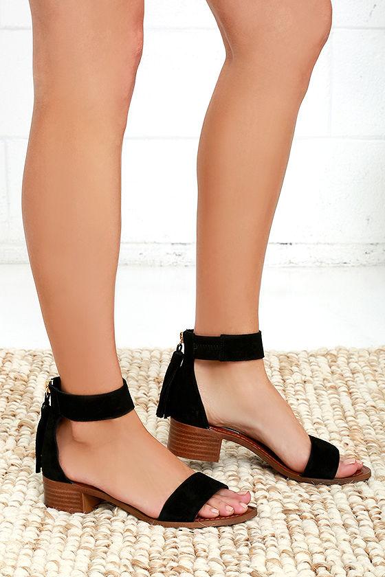 34d3977fd98 Cute Black Sandals - Suede Sandals - Heeled Sandals -  79.00