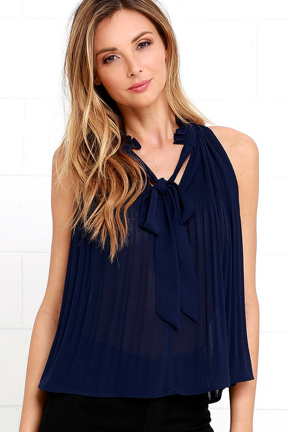 695d7bb75f30b Cute Navy Blue Top - Sleeveless Top - Pleated Top - Tie-Neck Blouse -  36.00