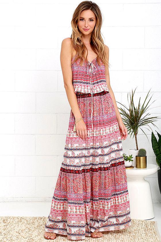 Mila Island Gypsy - Red Print Dress - Maxi Dress - $86.00
