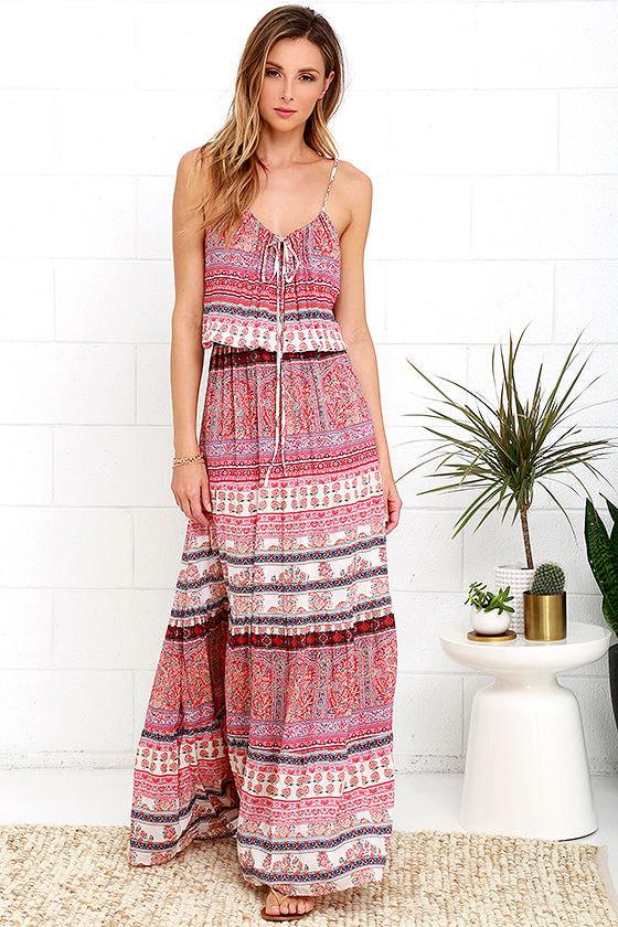 Mila Island Gypsy - Red Print Dress - Maxi Dress -  86.00 bb2dce758