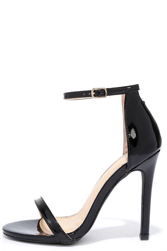 Sexy Black Heels - Patent Heels - Black Single Sole Heels -  28.00