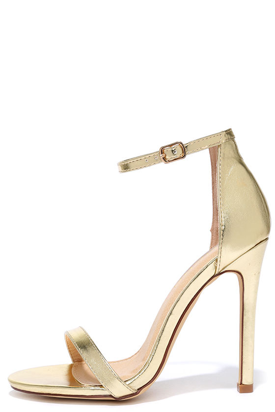Metallic Gold Sandals Heels Tsaa Heel