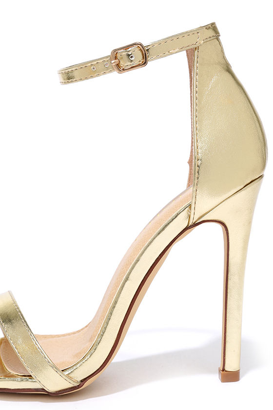 Sexy Gold Heels - High Heel Sandals - Metallic Single Sole Heels ...