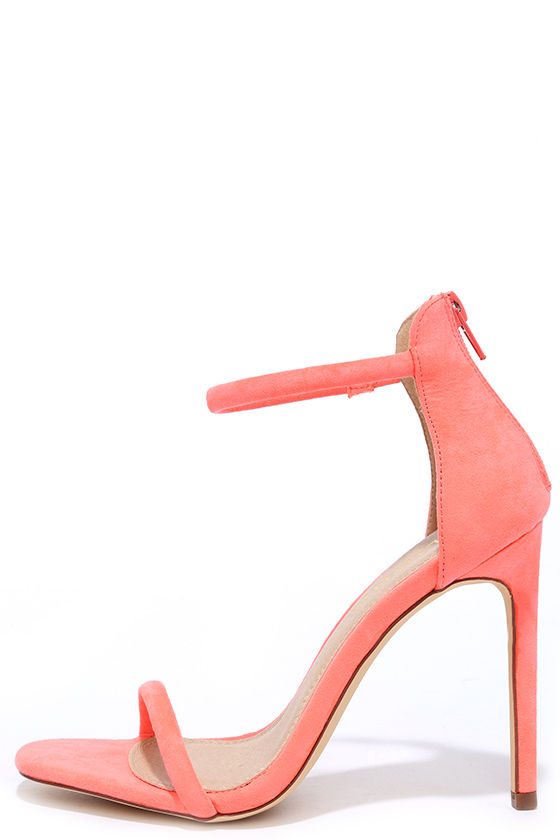 purchase cheap best price most popular Do the Tango Neon Coral Suede Ankle Strap Heels