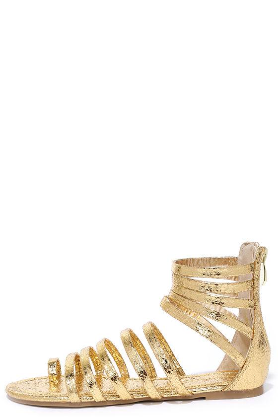 70341090b Gold Gladiator Sandals - Vegan Leather Sandals - Toe Loop Sandals - $22.00