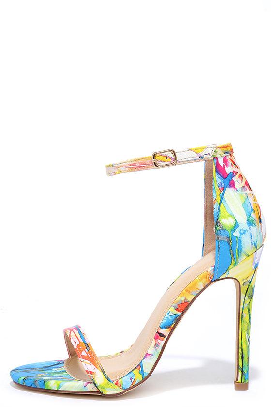 250ccb5785 Sexy Print Heels - High Heel Sandals - Print Single Sole Heels - $28.00