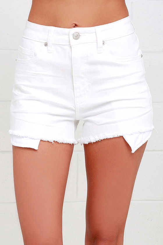 Chic White Shorts - Denim Shorts - High-Waisted Shorts - $45.00