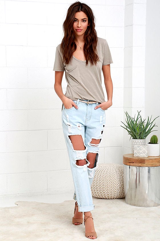 Distressed Light Wash Jeans - Boyfriend Jeans - Mid-Rise Jeans ...