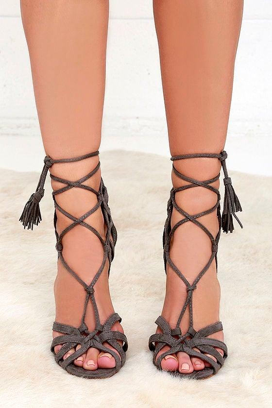 14c92fbf24d Cute Grey Heels - Vegan Suede Heels - Lace-Up Heels -  37.00