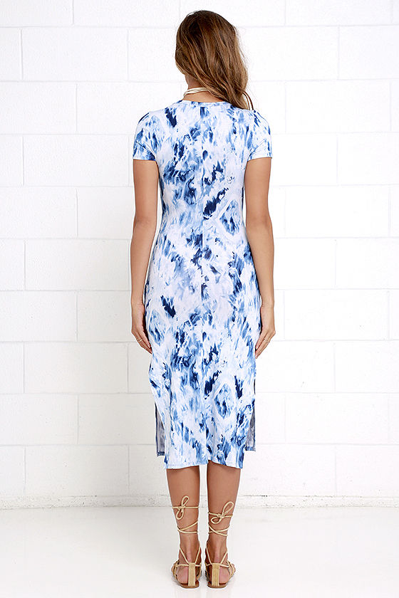 Let Me Sea Blue Tie-Dye Midi Dress 4