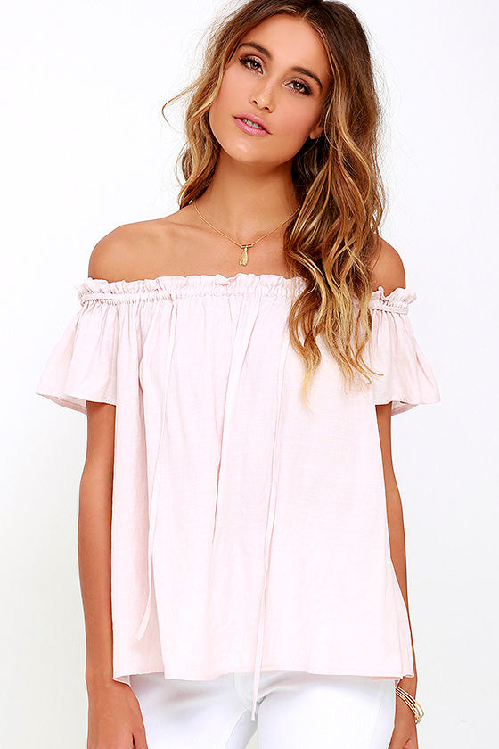 Cute Blush Top - Off-the-Shoulder Top - $56.00