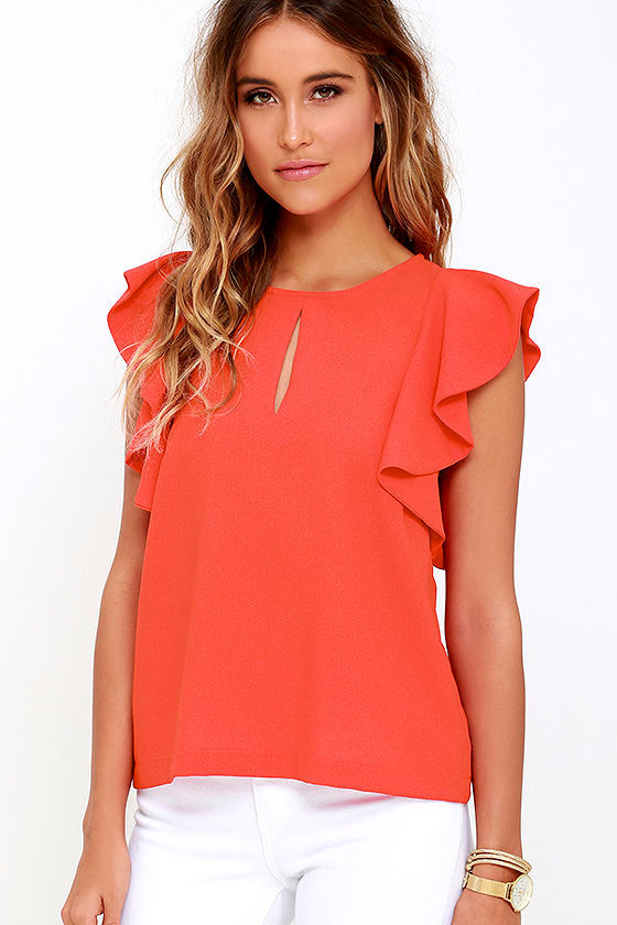 a314468b2b544 Lovely Coral Red Top - Red Blouse - Ruffle Sleeve Blouse -  38.00