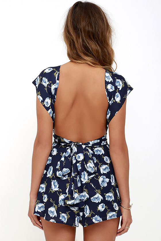 Elated Energy Navy Blue Floral Print Convertible Romper 6